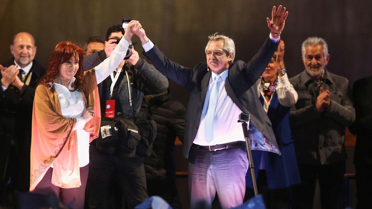 Cristina Fernández de Kirchner, candidata a la vicepresidencia, y el aspirante presidencial del Frente de Todos, Alberto Fernández