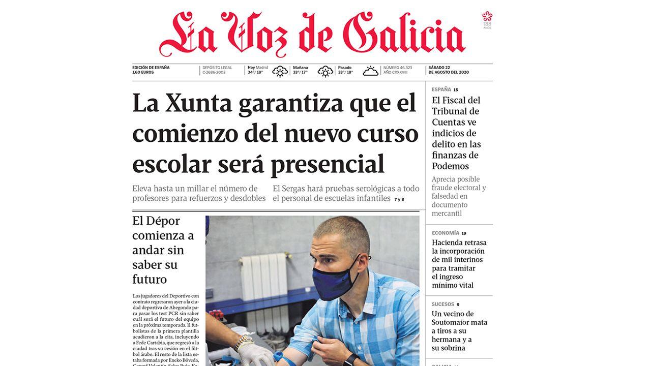 Primera de La Voz de Galicia del 22 de agosto del 2020