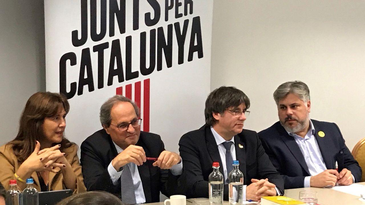 Laura Borrás, Quim Torra, Carles Puigdemont y Andrés Batet, ayer en Bélgica.