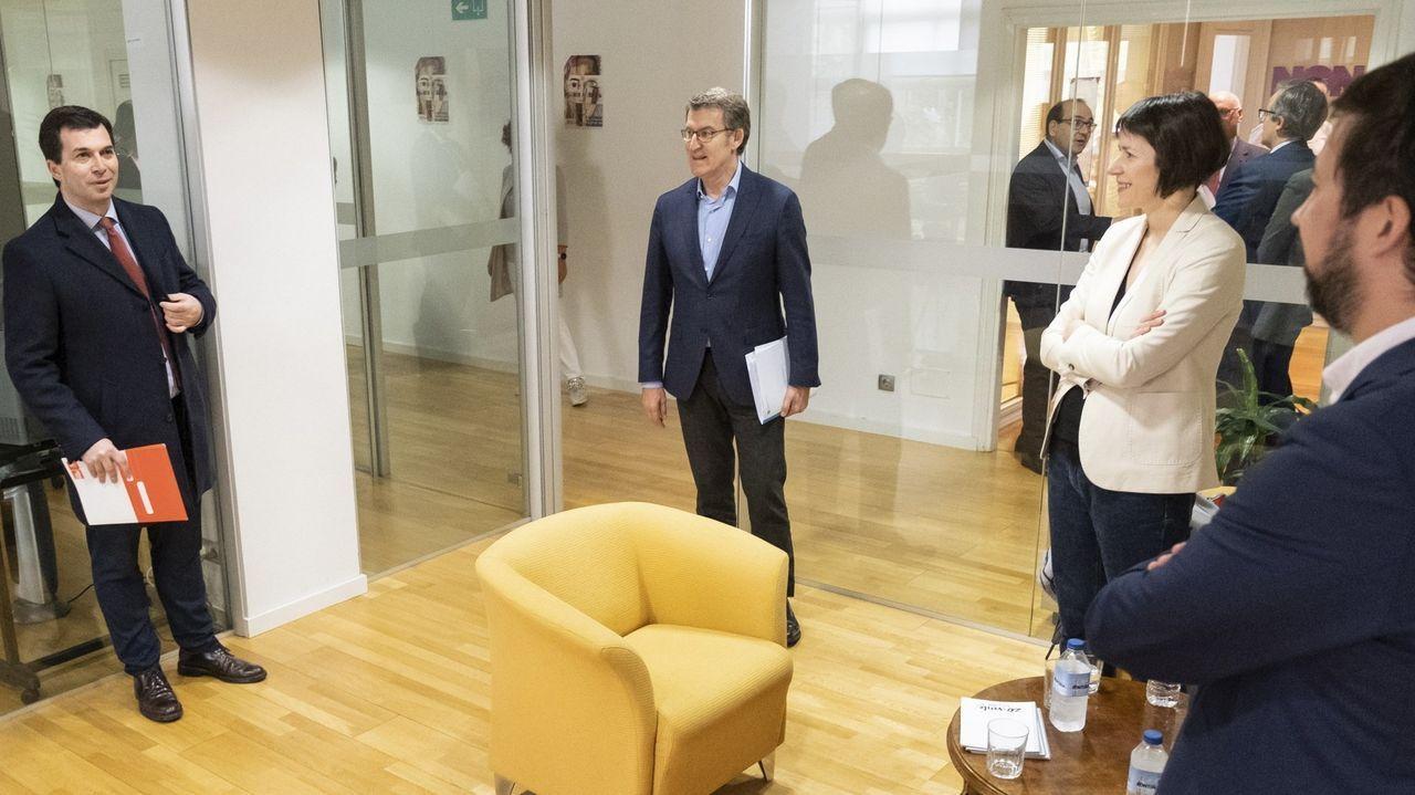 Así se votará en Galicia.Gonzalo Caballero, Alberto Núñez Feijoo, Ana Pontón y Antón Gómez-Reino, durante una reunión preelectoral en San Caetano