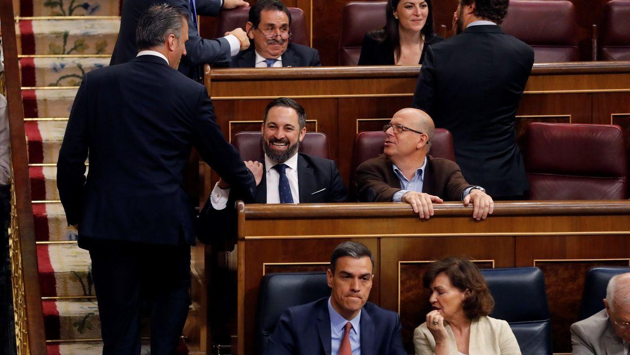Los diputados de Vox se sentaron justo detrás de los asientos reservados para el Gobierno