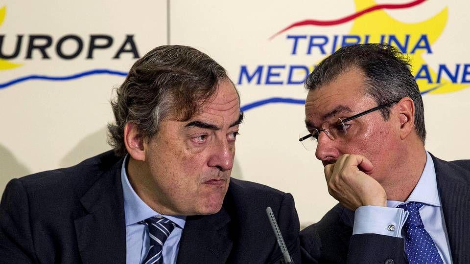 Juan Rosell con el presidente de la Confederación Empresarial Valenciana, Salvador Navarro