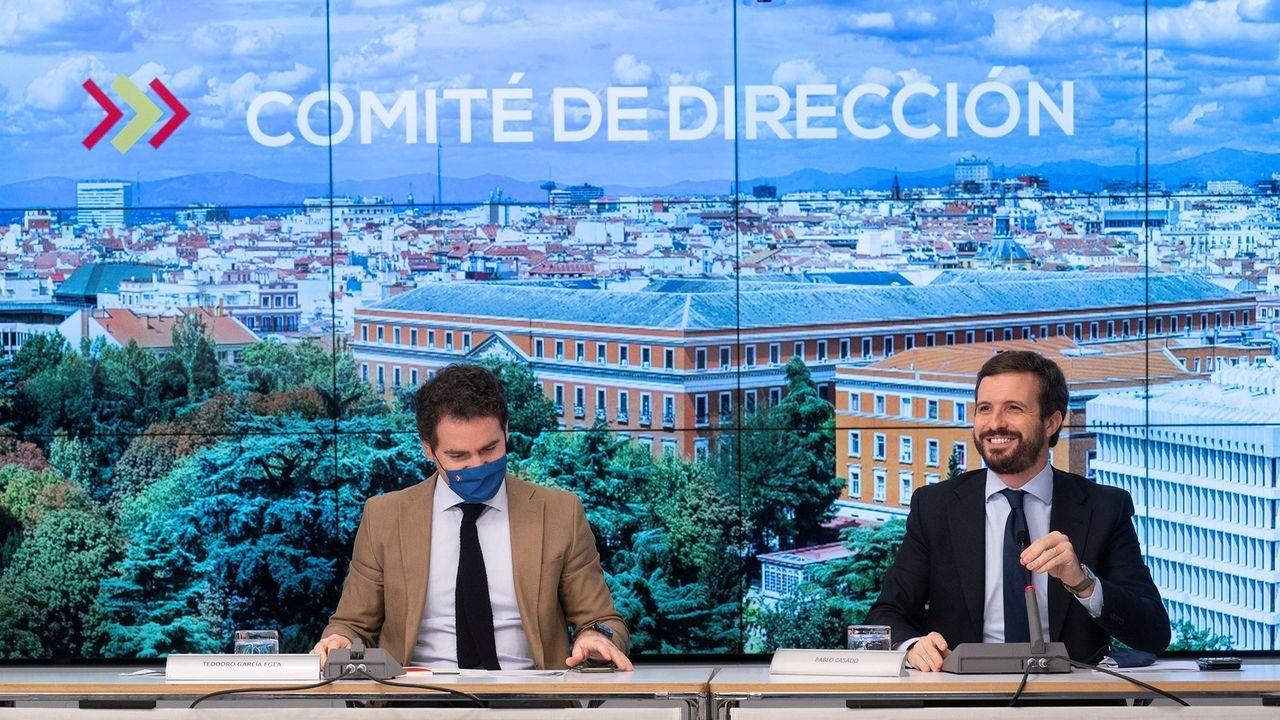 Sánchez hace balance del segundo estado de alarma.El presidente del PP, Pablo Casado, y el secretario general del partido, Teodoro García Egea, este lunes tras el comité de dirección de los populares