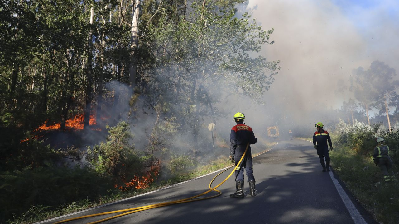 Bomberos forestales extinguen un incendio que se produjo en la zona de Laraño, en Santiago