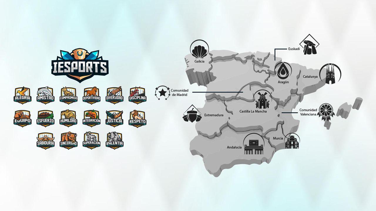 Mapa de las regiones de la Liga IESports, Asturias se halla en la zona mixta junto a otras comunidades