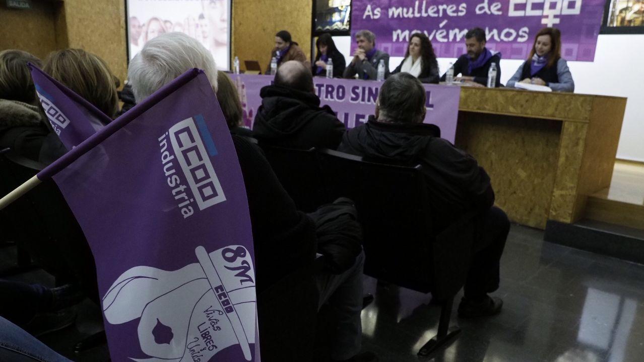 Unai Sordo, secretario general de CC OO, participó en la asamblea por la huelga de mujeres del 8M