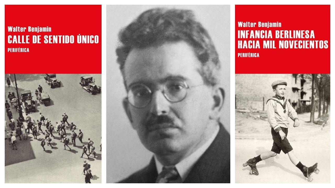 El escritor y pensador alemán Walter Benjamin, retratado en 1928 y flanqueado por las portadas de los dos libros que publica el sello cacereño