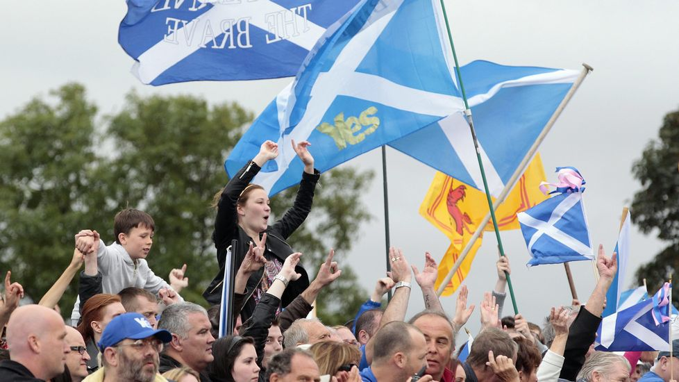 Multitudinaria manifestación proeuropea en Escocia.Crabb, Hunt, May y Johnson