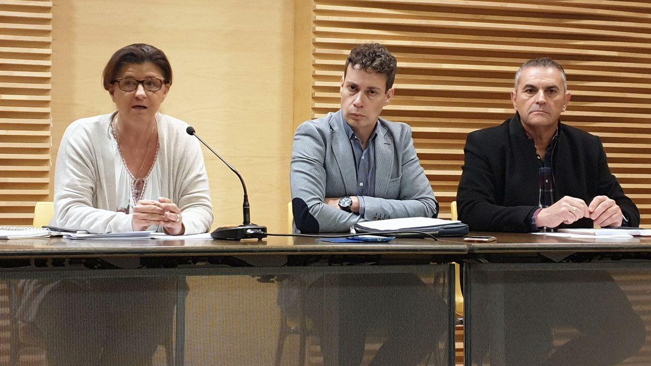 Los responsables de la Asociación de las Comarcas Mineras (ACOM), Carolina Morilla, Mario Rivas y Maximino García