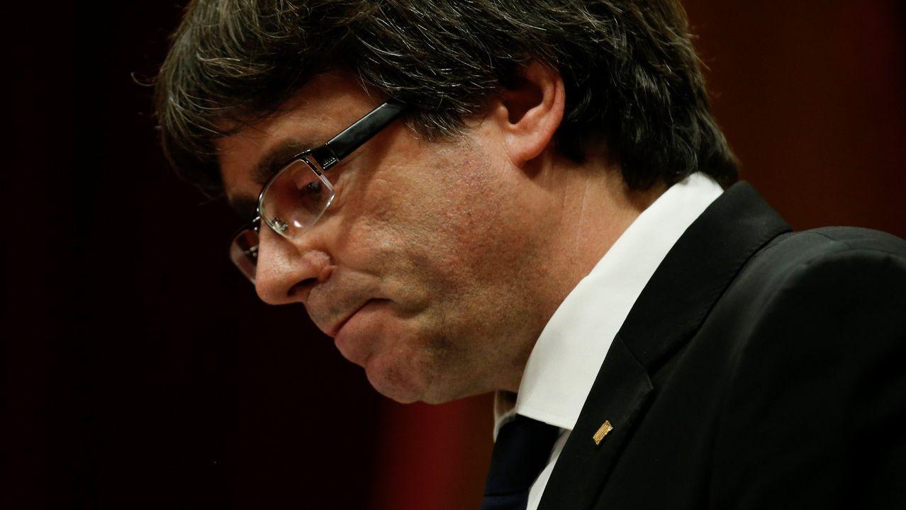 Carles Puigdemont, en un acto el pasado febrero en Francia