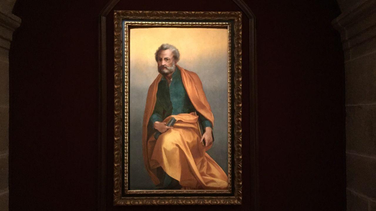 Óleo sobre tabla con la imagen de san Pedro