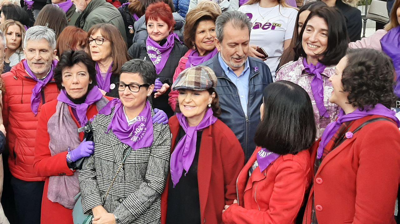 Miembros del Gobierno, en la manifestación del 8M en Madrid