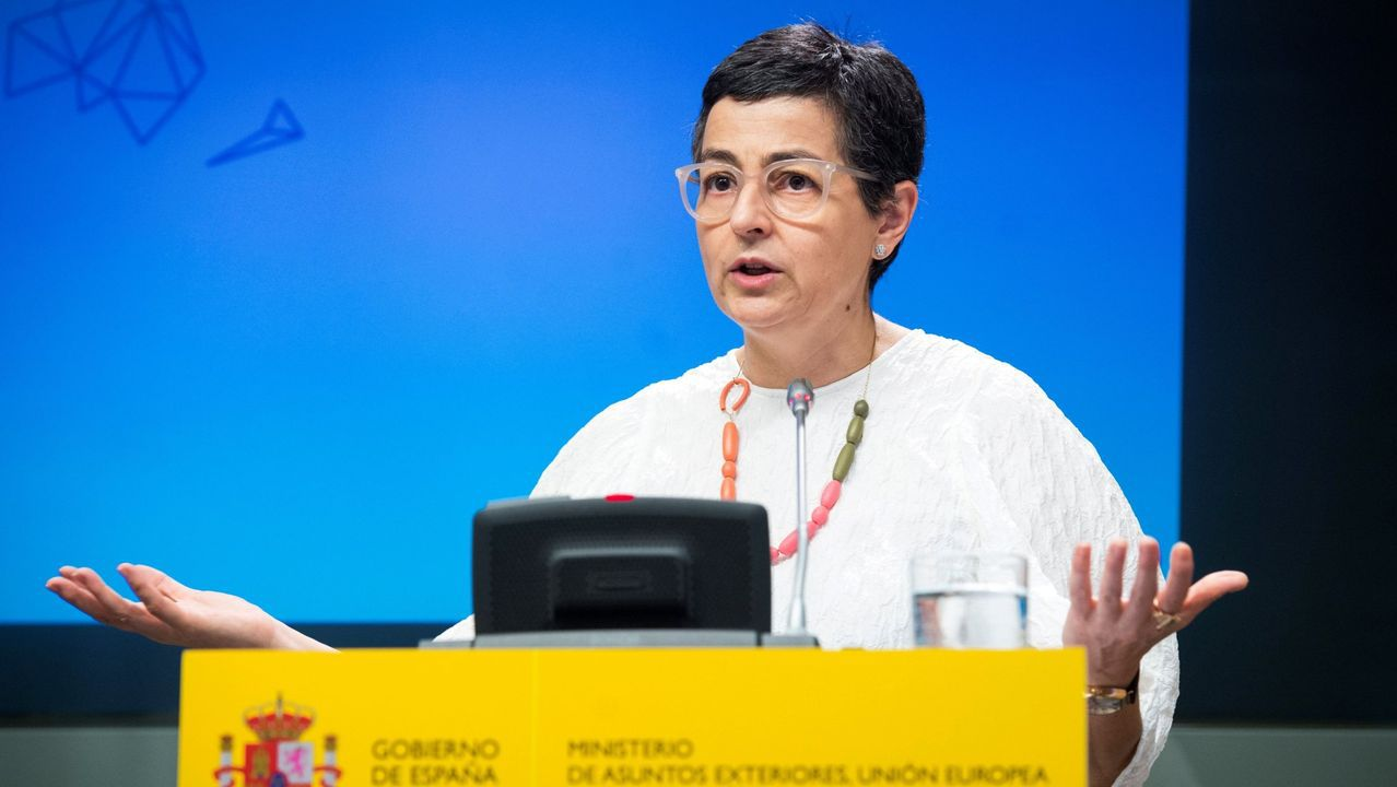 Imágenes de la pandemia en el mundo.La ministra de Asuntos Exteriores, Arancha González Laya, en una imagen de archivo de una rueda de prensa en Madrid
