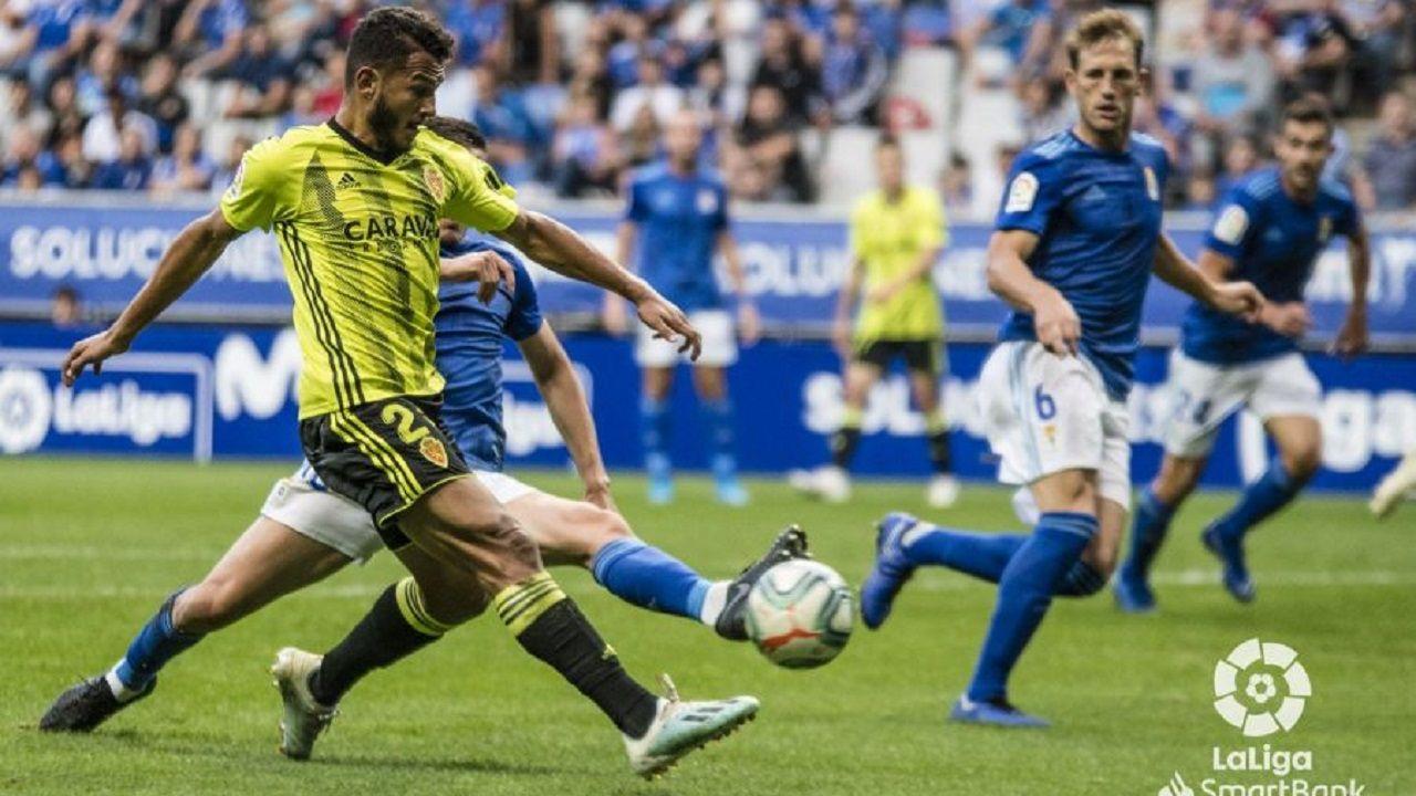 Sangalli Requexon.Luis Suárez anota el 2-2 ante el Real Oviedo