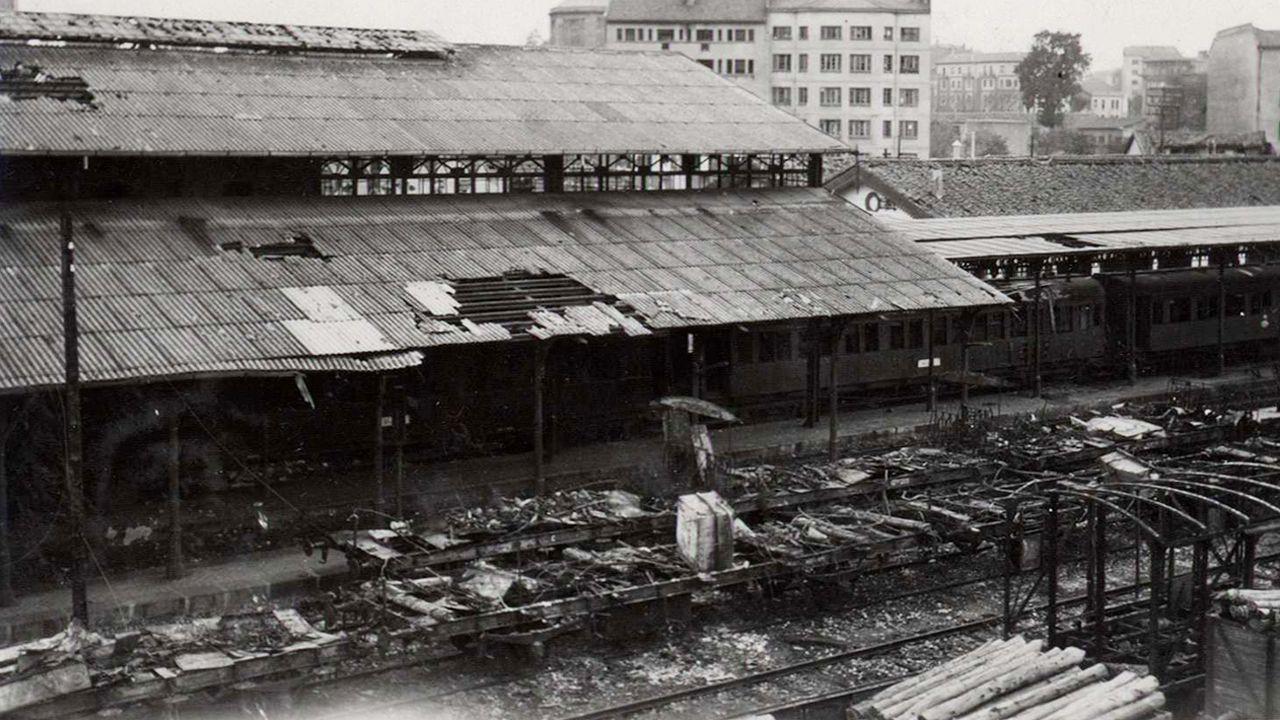 Daños causados por bombardeos durante la guerra civil en otra estación ovetense, la del Norte de Renfe
