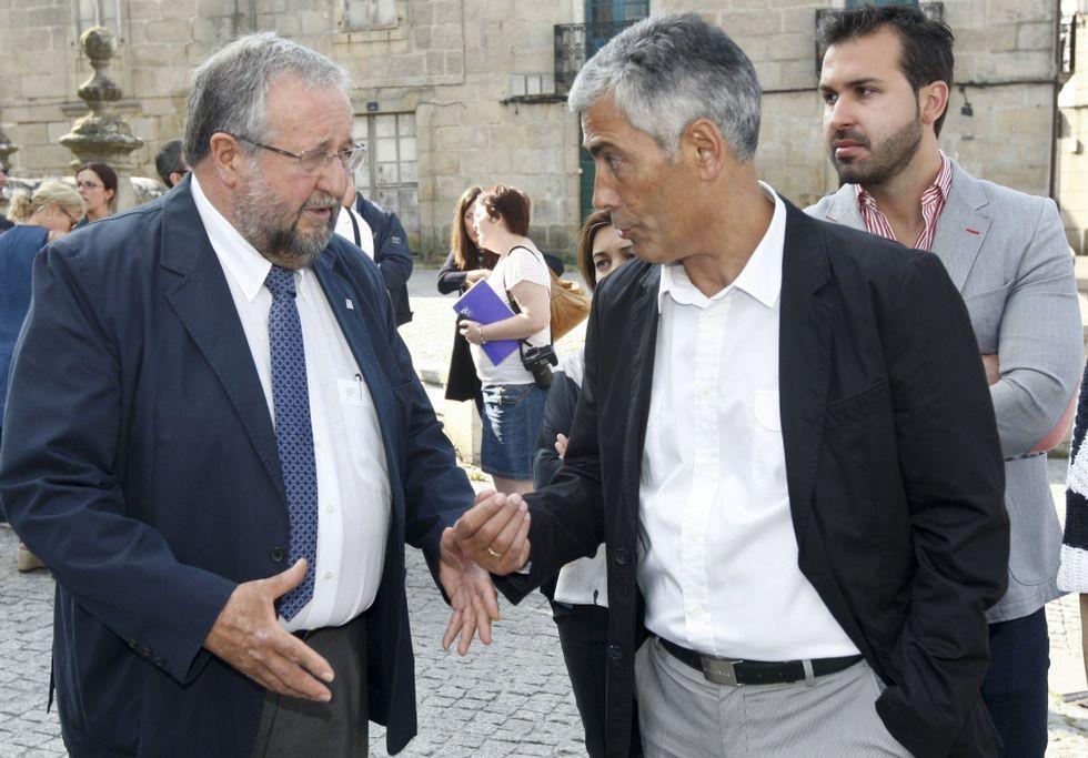 La noche electoral el Lugo.José Ramón Gómez Besteiro, con Pachi Vázquez, en un acto del PSOE en Lalín.