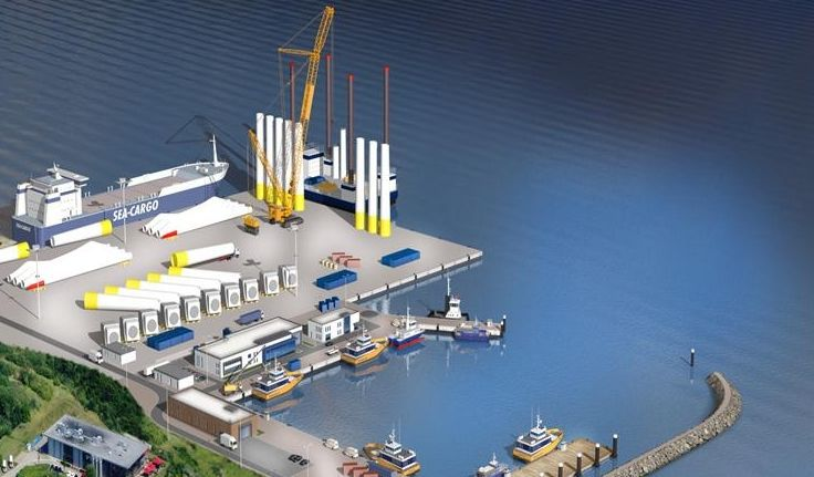 Recreación de la base de Iberdrola en el puerto de Sassnitz.