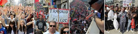 Combobueno.Imágenes de las manifestaciones de Vigo, Ferrol y A Coruña