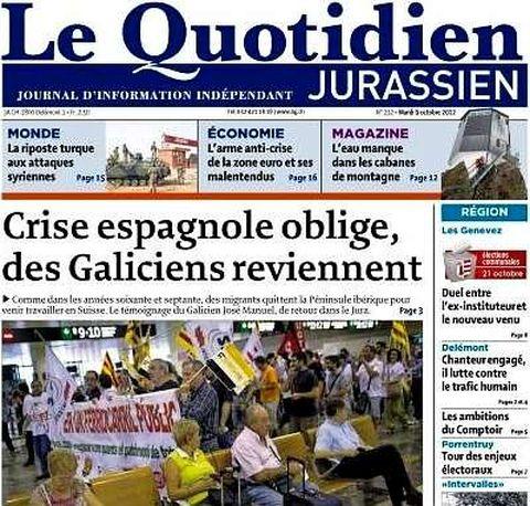 El rotativo Le Quotidien dedicó su portada a los gallegos que emigran