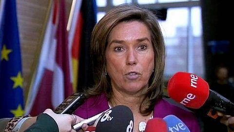 Ana Mato, en una conferencia de prensa en Estrasburgo