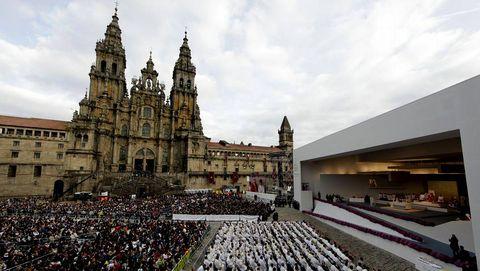 La plaza del Obradoiro, durante la visita del papa Benedicto XVI
