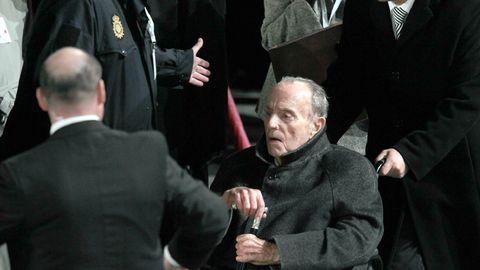 Visita del papa Benedicto XVI a Santiago. En la imagen Manuel Fraga Iribarne sentado en su silla de ruedas durante la misa
