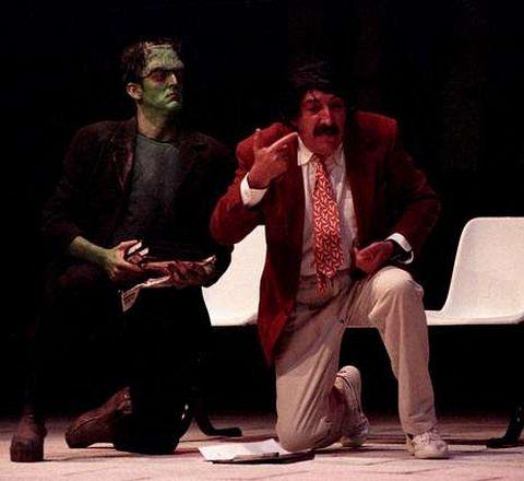 Ruibal e Vidal Bolaño nunha función de «Criaturas» no 2000.