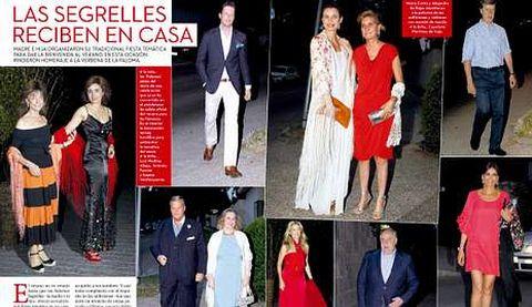 <span lang= es-es >Primera fiesta del verano</span>. Arriba, imagen de los invitados de la fiesta de las Segrelles. A la derecha, portada de la revista.