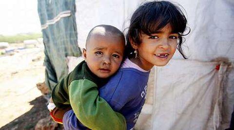 Refugiados sirios en un campo libio del valle de Bekaa.
