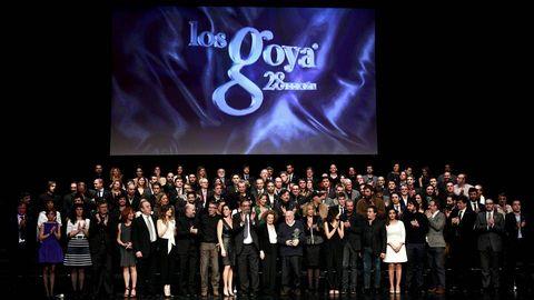 Foto de familia de los nominados de los premios Goya 2014