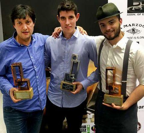 Ramos, a la izquierda, con los otros gallegos triunfadores.