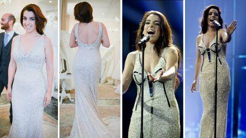 En las dos primeras imágenes el nuevo vestido, y en las otras dos, el diseñado por Anmargo.