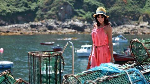 Raquel del Rosario, en una visita a Caión.