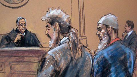 Recreación del juicio, con el yerno de Bin Laden a la derecha