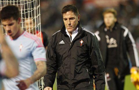 Eduardo Berizzo salió desencajado tras la derrota en el último partido ante el Almería.