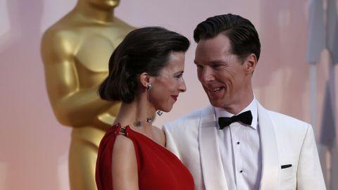Benedict Cumberbatch con su mujer Sophia, con la que se casó hace un par de semanas -el día de San Valentín-. La pareja está esperando su primer hijo