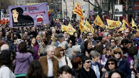 Marcha de mujeres en Valencia