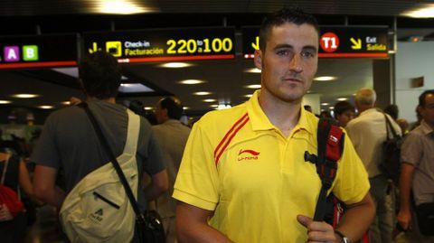 En Barajas, antes de partis a Pekín2008, de donde regresaría con dos metales.