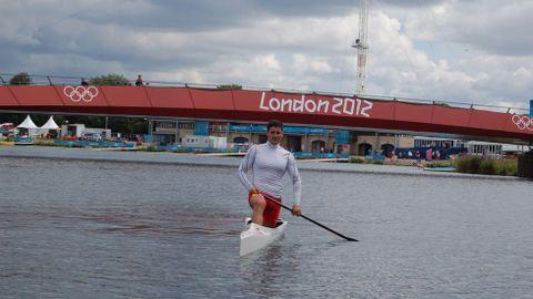 El palista gallego David Cal durante un entreno en Londres.