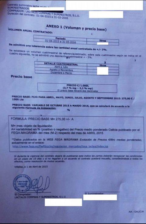 Una diferencia sin explicación. En este documento se aprecia cómo Lactalis, una firma francesa, oferta a un ganadero gallego la leche para abril a 275 euros la tonelada.