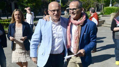 José Manuel Baltar con el candidato del PP en Ourense
