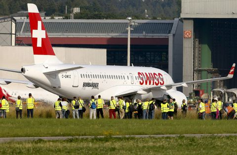 Presentación de un nuevo avión de Swiss celebrada la semana pasada en Zúrich.