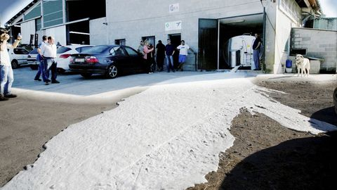 Uno de los ganaderos afectados, de Teixeiro (Curtis), abriendo ayer sus tanques al no recoger la empresa la leche.