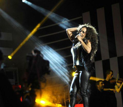 Rosario Flores, en una actuación en Lalín en febrero dentro de A Festa do Cocido.
