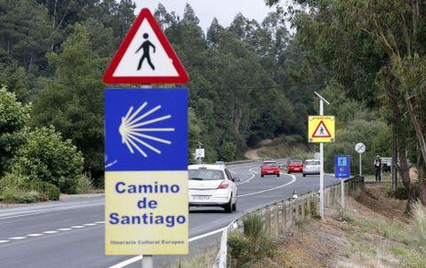 Señales avisando del cruce de peregrinos en Santa Irene, punto negro en el tramo de O Pino.