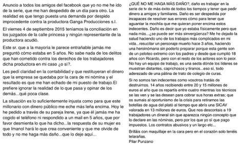 Captura de pantalla del texto colgado en Facebook por Pilar Punzano y retirado horas después por la actriz.