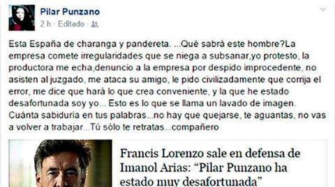 El post de Pilar Punzano en Facebook