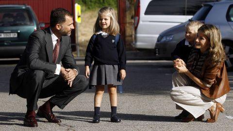 En su primer día de colegio en el 2010.