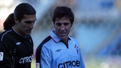 Pinto, con el actual técnico del Celta, Berizzo, en el 2005
