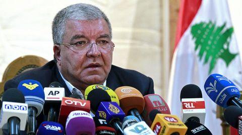 El ministro de Interior libanés, Nouhad Machnouk, durante la rueda de prensa.